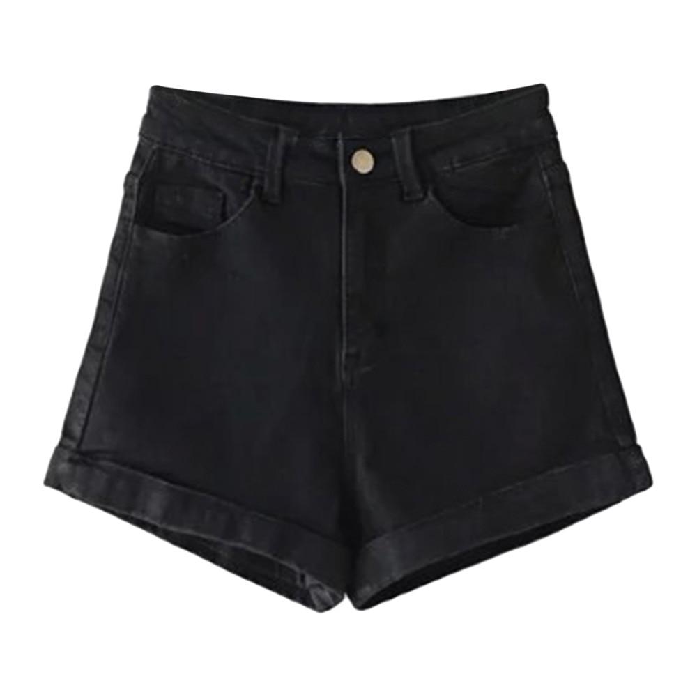 ZAFUL Trendy High-Rise Denim Women's   Shorts   Women Casual High Waist Black Hot   Shorts   2018 Fashion Rock Straight   Shorts