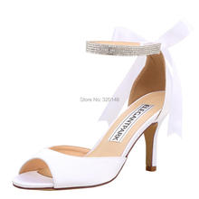 Summer Women Sandals  Wedding White Ivory Ankle Strap High Heels Shoes Satin Ladies Bride Bridal Prom Party Shoes hp1906 creativesugar see through lace mary jane vintage style med low heels bridal wedding party prom black white ivory pink shoes