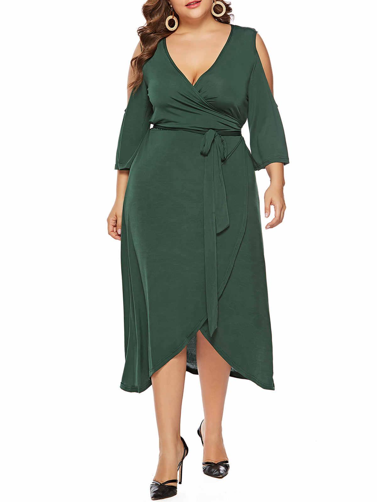 Wipalo Plus Size Cold Shoulder Wrap Women Dress 3 4 Sleeve Bowknot Cut Out  Asymmetrical ade33bad3e45