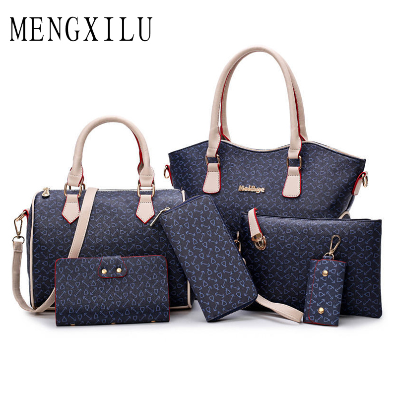 MENGXILU brand Women Bag 6 Sets Top Handle Big Capacity Female Handbag Fashion Shoulder Bag Purse