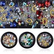 Nail Art Decorations Jewelry Diamonds Curved Bottom Shaped Diamond Transparent AB Rhinestone Crystal Glass Mixed Stones