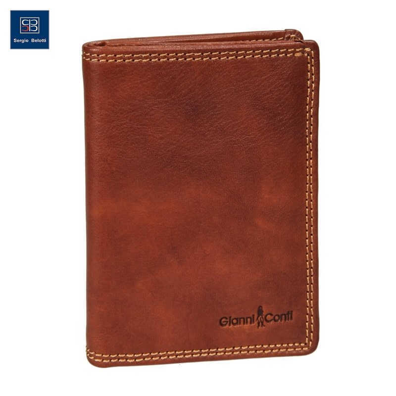 Coin Purse Gianni Conti 918038 Tan simline vintage genuine crazy horse cow leather men men s long hasp wallet wallets purse zipper coin pocket holder with chain