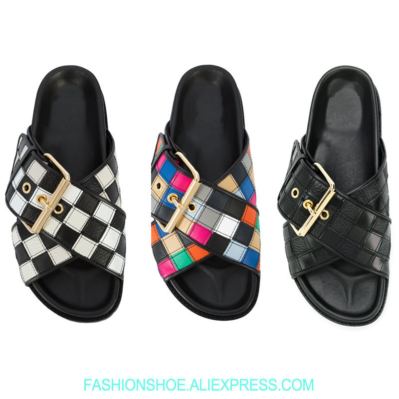 Metal Buckle Decor Women Slippers Plaid Colorful Platform Leather Sandals Women Shoes Summer Flatforms Casual Sandalias MujerMetal Buckle Decor Women Slippers Plaid Colorful Platform Leather Sandals Women Shoes Summer Flatforms Casual Sandalias Mujer