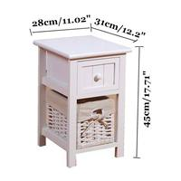 Wooden Fahion Modern Bedside Tables Cabinet Drawers Bedroom Furniture Home Dormitorio Storage Pastoral Nightstands 45X31X28cm