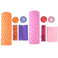 5Pcs Hollow Yoga Roller Set Massage Ball Column Resistance Loop Band Extension Belt Fitness Massager Relaxation