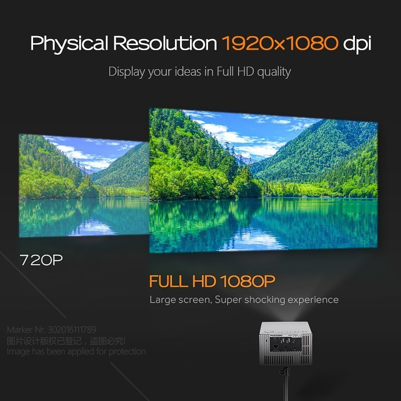 AUN Full HD Projektor J20, 1920*1080 P, Gebaut in Android, WIFI, 10000mAh Batterie, Tragbare Mini Projektor, Unterstützung 4 K, 3D Home Cinema