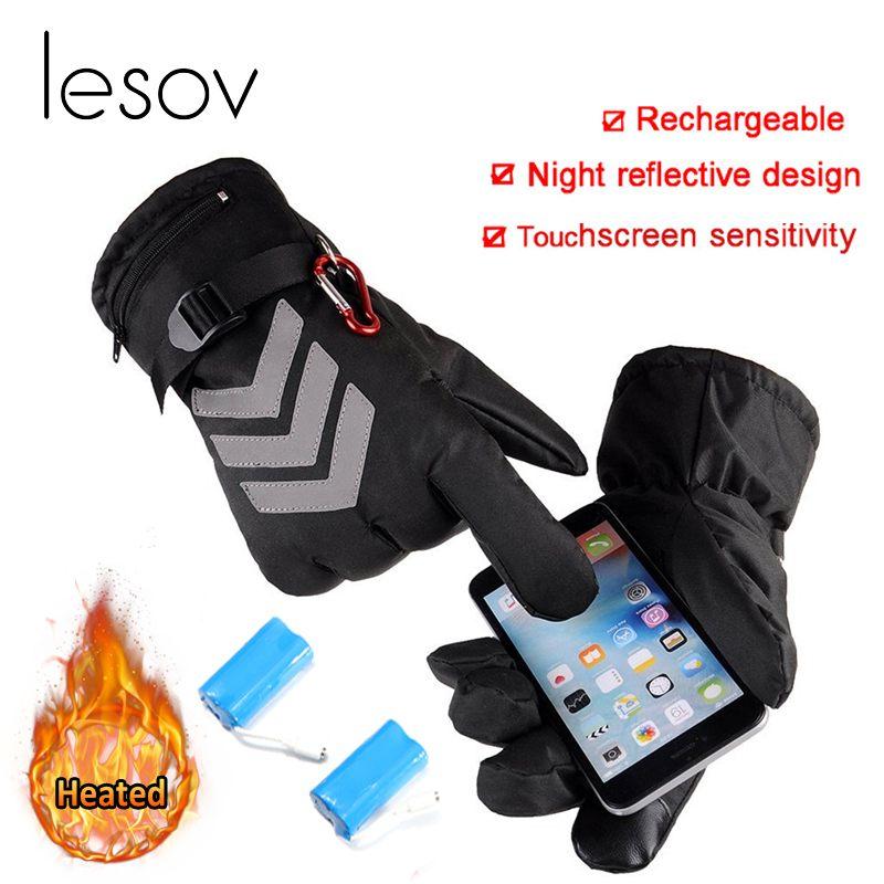 Lesov Hiver Batterie Chauffée Gants homme femme Nuit Réfléchissant gants pour écran tactile Moto Conduite Mitaines Chaud Guantes Luvas