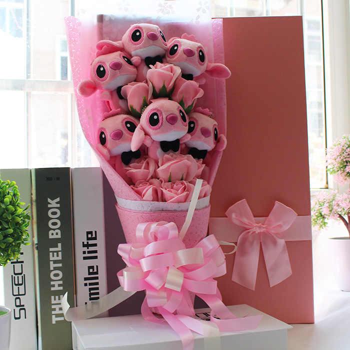 Горячие милые Мультяшные плюшевые игрушки стежка праздничный Подарочный букет с поддельными цветами на День святого Валентина свадебные украшения