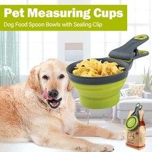 Новые ПЭТ мерные чашки собака ложка мерная разборные для еды Совок чаши с уплотнительным зажимом для кота собаки домашнего животного еда ложка для кормления ложка