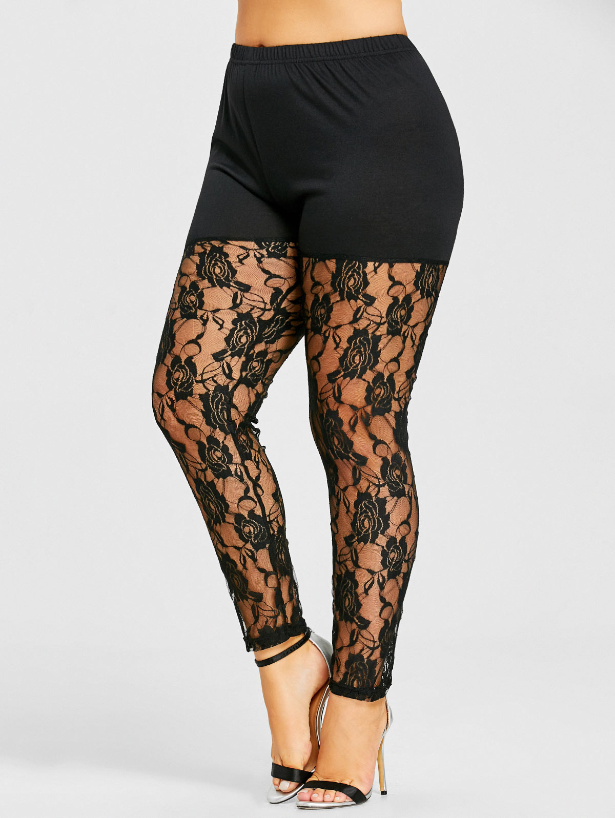 Wipalo Plus Size 5XL High Waist Black Sexy Floral Lace Sheer   Legging   Women Skinny See Through Mesh Pants Capri Big Size 2018