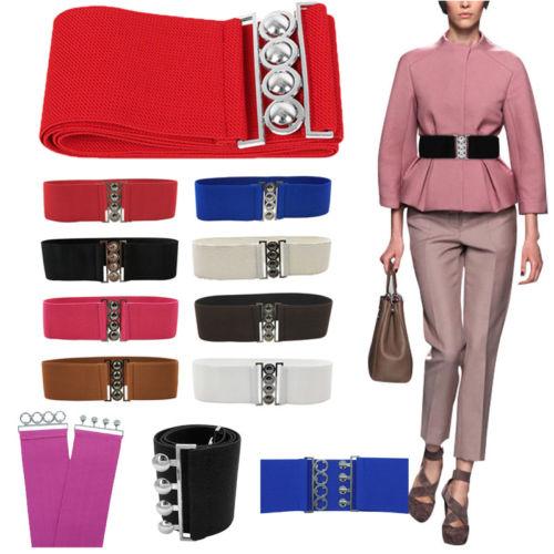 Women's Ladies Cummerbunds Fashion Week Ladies Hollow Buckle PU Leather Waist Belt Wide Corset Stretch Waistband
