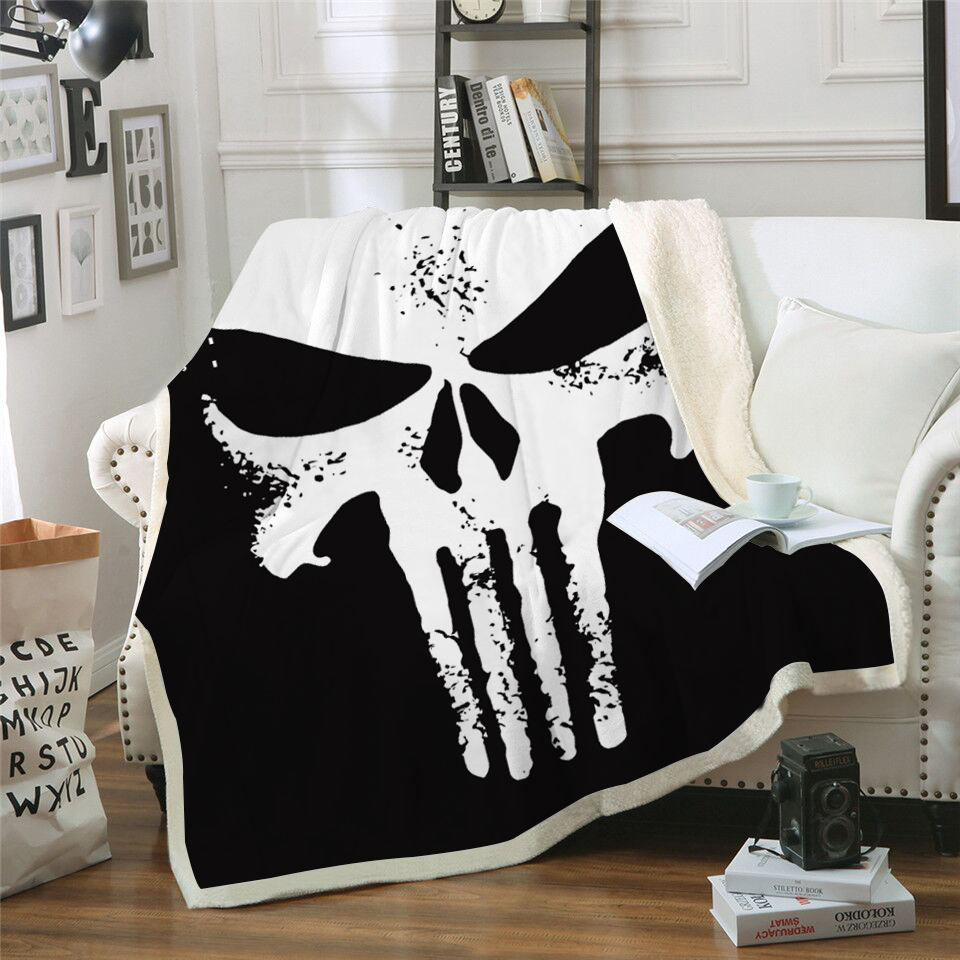 3D Punisher Skull Printed Velvet Plush Throw Blanket Bedspread For Kids Girls Sherpa Blanket Couch Quilt Cover Travel3D Punisher Skull Printed Velvet Plush Throw Blanket Bedspread For Kids Girls Sherpa Blanket Couch Quilt Cover Travel