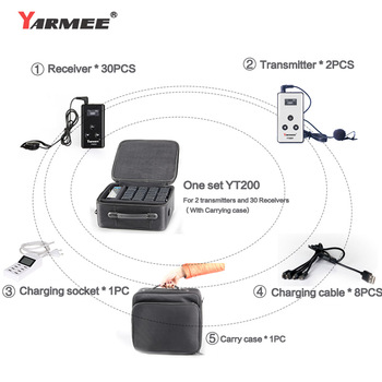 YARMEE New Wireless Tour Guide System YT200 2 Transmitters 30 Receivers with Carry Case