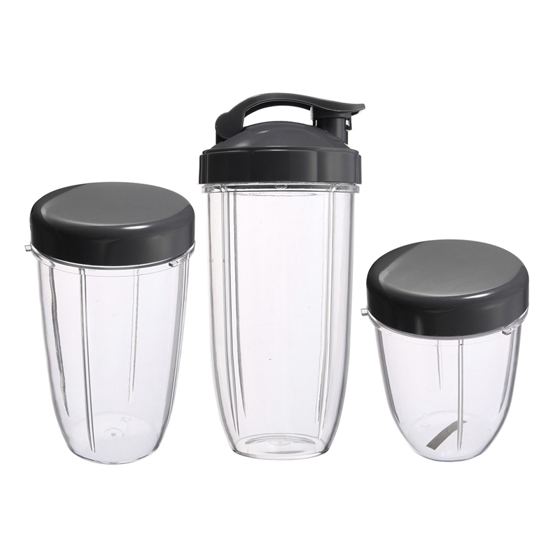 3Pcs Replacement Cups 32 Oz Colossal +24 Oz Tall +18oz Small Cup+3 Lids For Nutribullet Fruit Juicer Parts Kitchen Appliance B
