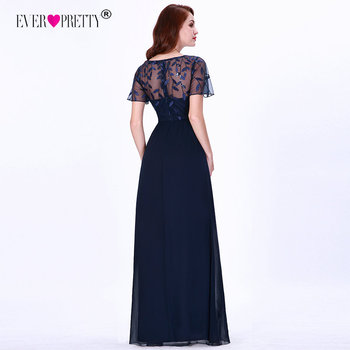 Mother Of The Bride Dresses Ever Pretty Elegant Navy Blue A-line Short Sleeve Chiffon Lace Embroidery Party Gowns For Wedding 5