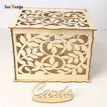 Wood DIY Wedding Keepsake Box Party Decor Gift Card Holder Wooden Money With Lock Carving Decoration