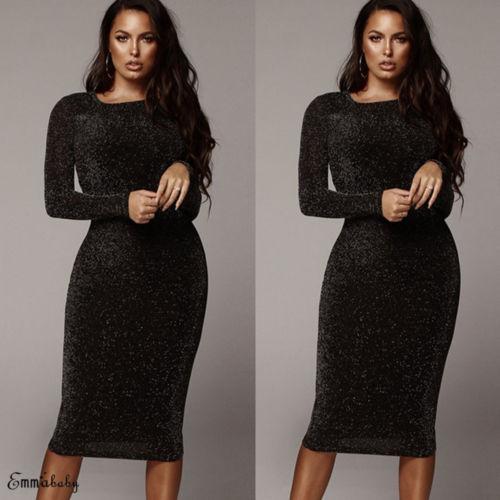0fa97177fa 2019 New Sexy Long Sleeve Dress Women Sequin O Neck Shiny Long Dress Ladies  Bodycon Evening Party Clubwear Dress