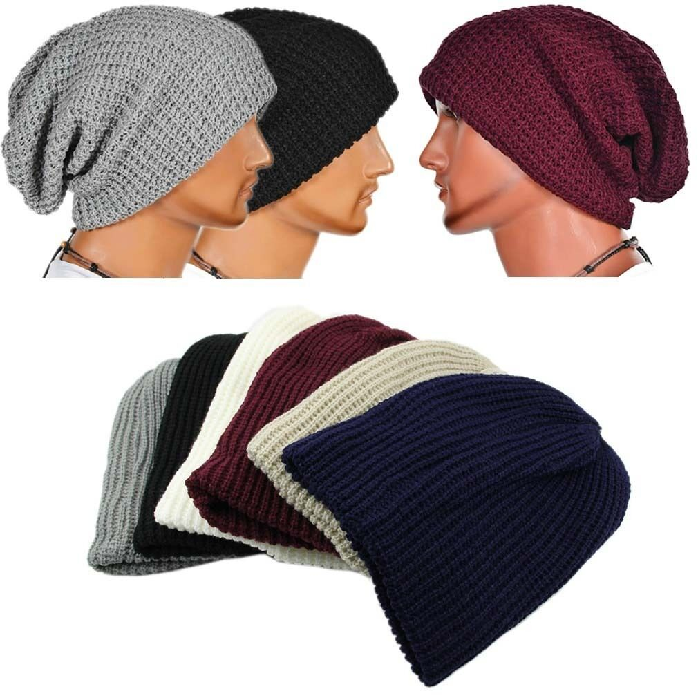 Women Men knitted Baggy   Beanie   Soft Hat Winter Warm Oversized Ski Cap Hats