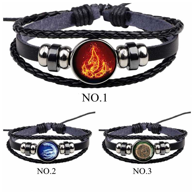Avatar: The Last Airbender Fire Nation Logo Black Leather Bracelet Anime Jewelry Aang Prince Zuko Cosplay Accessories