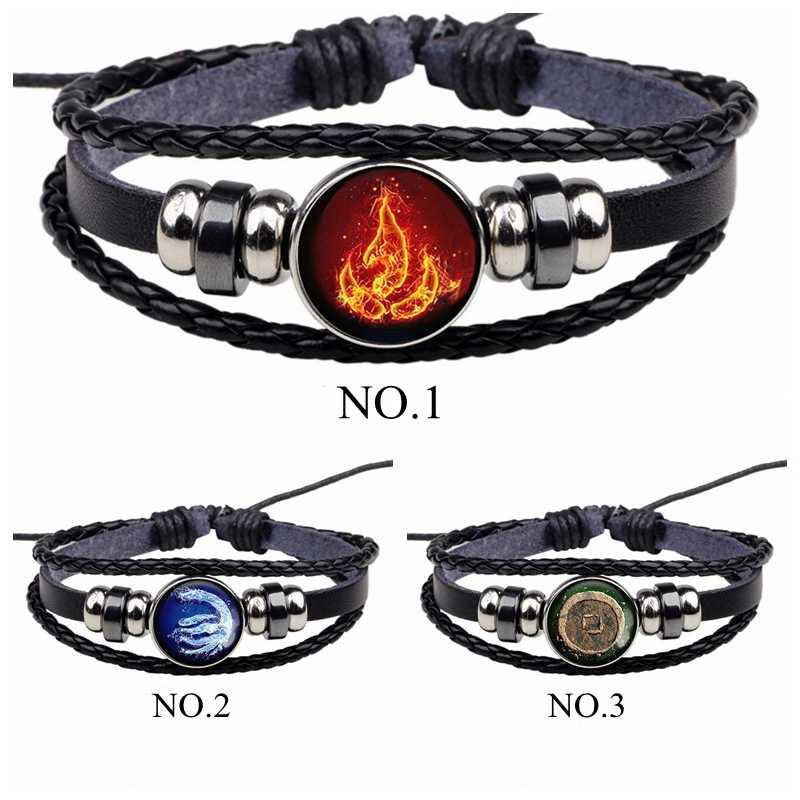 Avatar: La última pulsera de piel negra con Logo de la Nación del Fuego de Aang Prince Zuko, accesorios de Cosplay