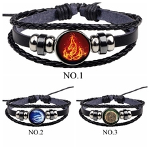 цена на Avatar: The Last Airbender Fire Nation Logo Black Leather Bracelet Anime Jewelry Aang Prince Zuko Cosplay Accessories