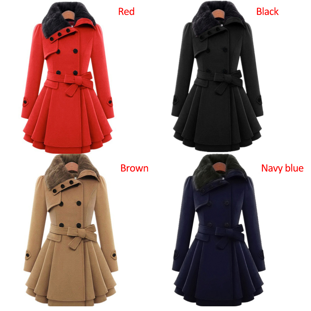 Fashion Ladies Womens Slim Fit Double Breasted Trench Coat Jacket Overcoat