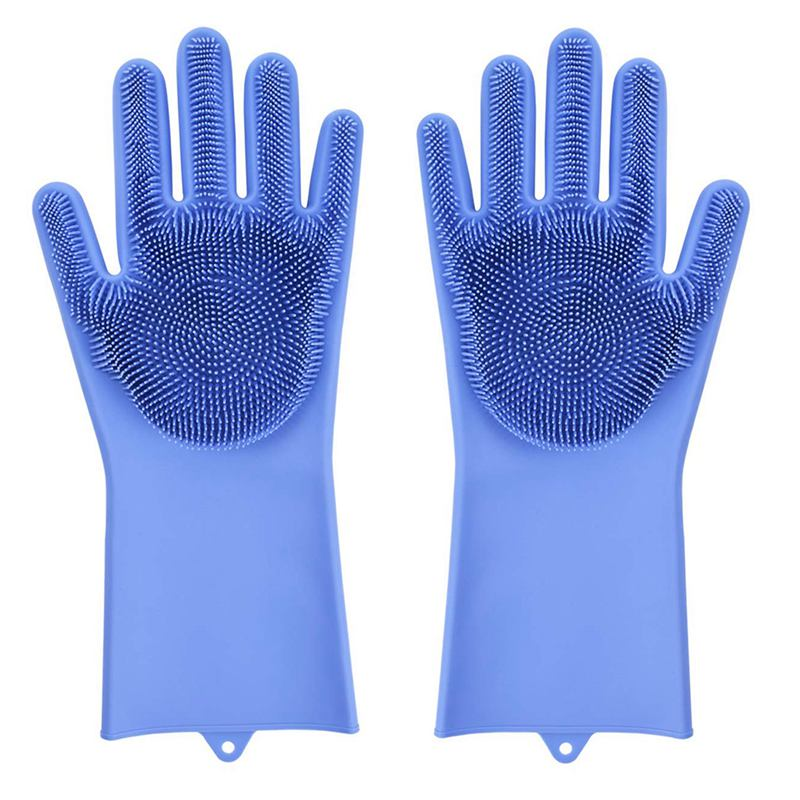 Roll over image to zoom in Magic Dishwashing Gloves with scrubber  Silicone Cleaning Reusable Scrub Gloves for Wash Dish Kitch|Household Gloves| |  - title=