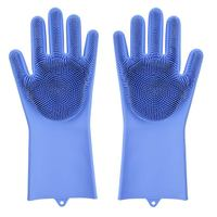 Roll over image to zoom in Magic Dishwashing Gloves with scrubber  Silicone Cleaning Reusable Scrub Gloves for Wash Dish Kitch|Household Gloves| |  -