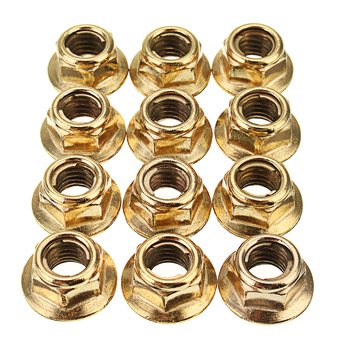 12 Pcs M8 Hex Copper Exhaust Manifold Pipe Nuts Self Locking For BMW 3 Series E30 Saloon 1982-1993 image