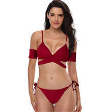 ECTIC 2019 Sexy Thong Two Piece Swimsuit Solid Female Red Cross Strap Swimwear Women Backless Brazilian Monokini Bathing Suit