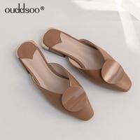 ODS 2019 Women Flats Vantage Mules Square Toe Slides Women Half Slippers Spring Flat Sandals Fashion Female Slip On Summer Shoes