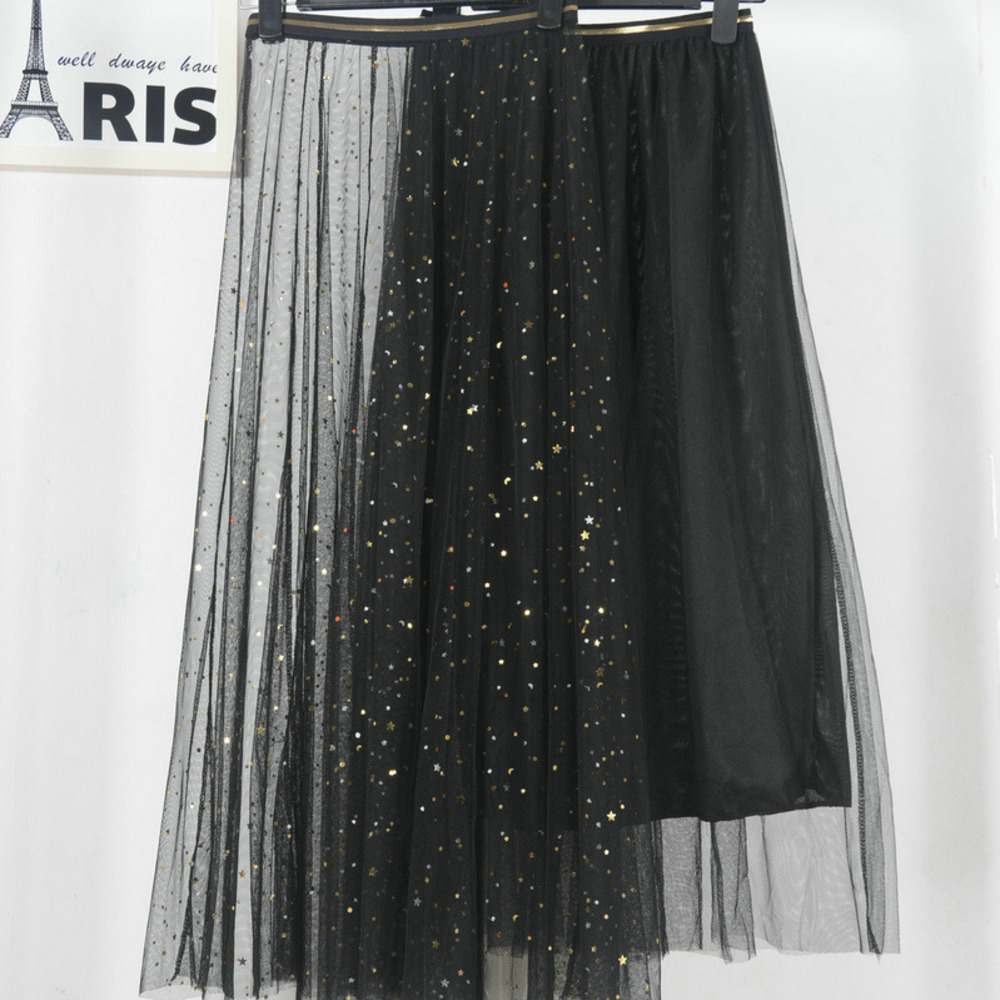 VITIANA Women Lace Pleated 2 Pieces Skirts 2019 Spring Summer Female Casual Beach Stars Black Sweet Party Pleated Long Skirt