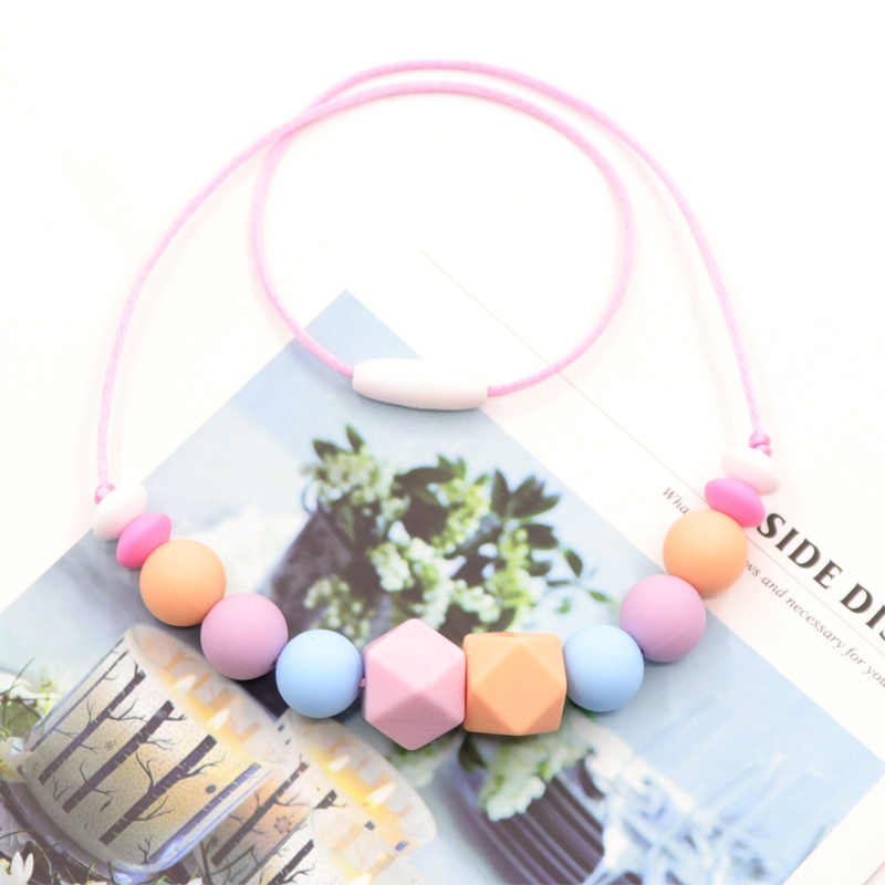 Infant Baby/breastfeeding Women Teething Necklace Real Food Grade Silicone Beads Necklace For Chewable Nursing Baby Mordedor