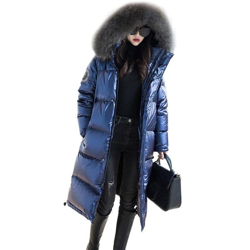 Raccoon Fur Collar Winter   Down     Coats   Women 2019 Long Jackets Fashion Bright Hooded Parka   Down   Jacket Female Outerwear Warm PL21