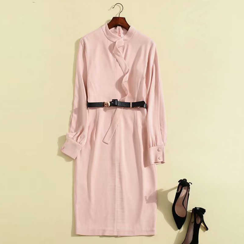 21528d204a ... nude pink /navy blue split long sleeve belted stand collar leather belt  knee length pencil ...