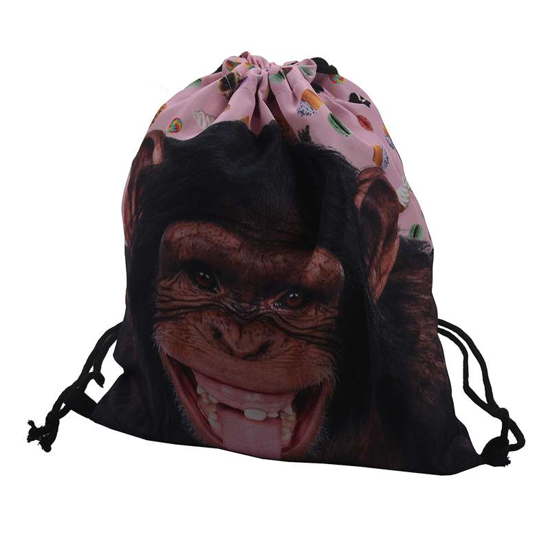 Fashion Drawstring Backpack Personality And Contracted Design Bag Men And Women All Appropriate 3D With Fashion