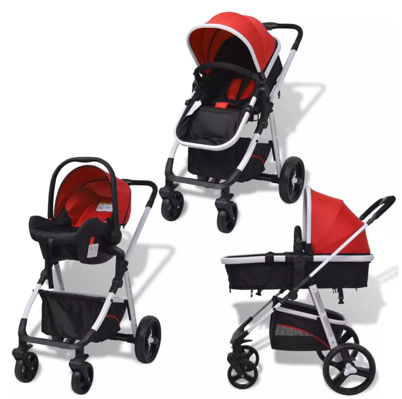 VidaXL 3-In-1 Foldable Pushchair Aluminium Red And Black Adjustable Children Chair Outdoor Portable Carrier For Baby Kids