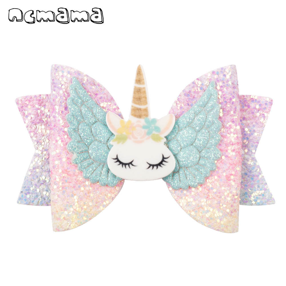 Ncmama Hair Accessories Hair Bows For Girls Glitter Hair Clips 3inch Cute Elk Unicorn Hairpins Kids Christmas Hair Accessories