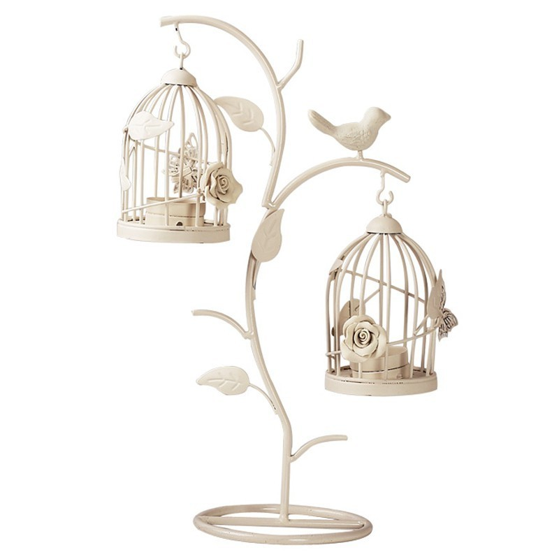 European Branches Bird Cage Candle Holder Wrought Iron Candlestick Ornaments Home Decoration Living Room Crafts Furnishings Gift