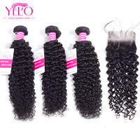 YELO Hair Indian Hair Weave 100% Human Hair Kinky Curly 2 3 Bundles With Closure Non Remy Hair Extensions Natural Color