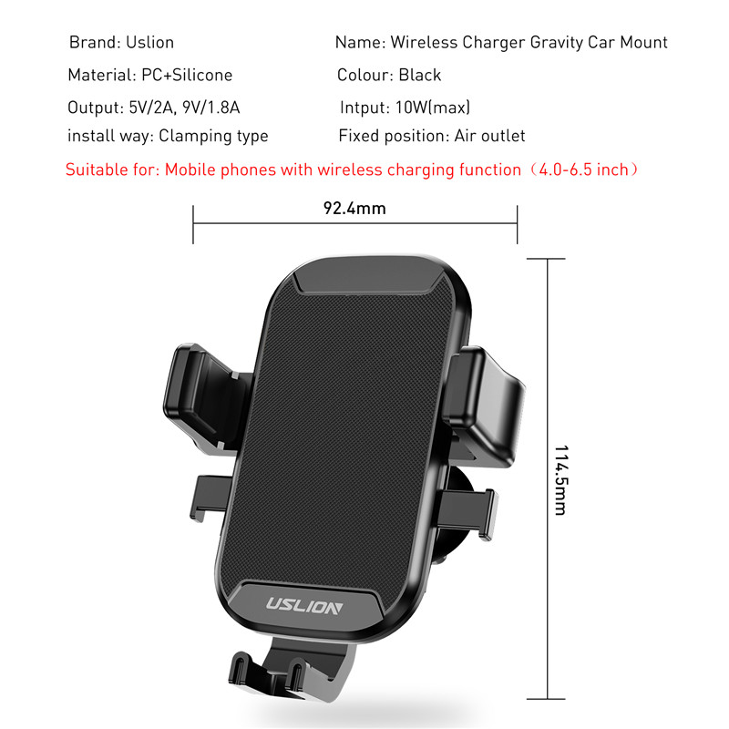 Image 3 - USLION Car Mount Qi Wireless Charger For iPhone XS Max X XR 8 Fast Wireless Charging Car Phone Holder For Samsung Note 9 S9 S8Mobile Phone Chargers   -