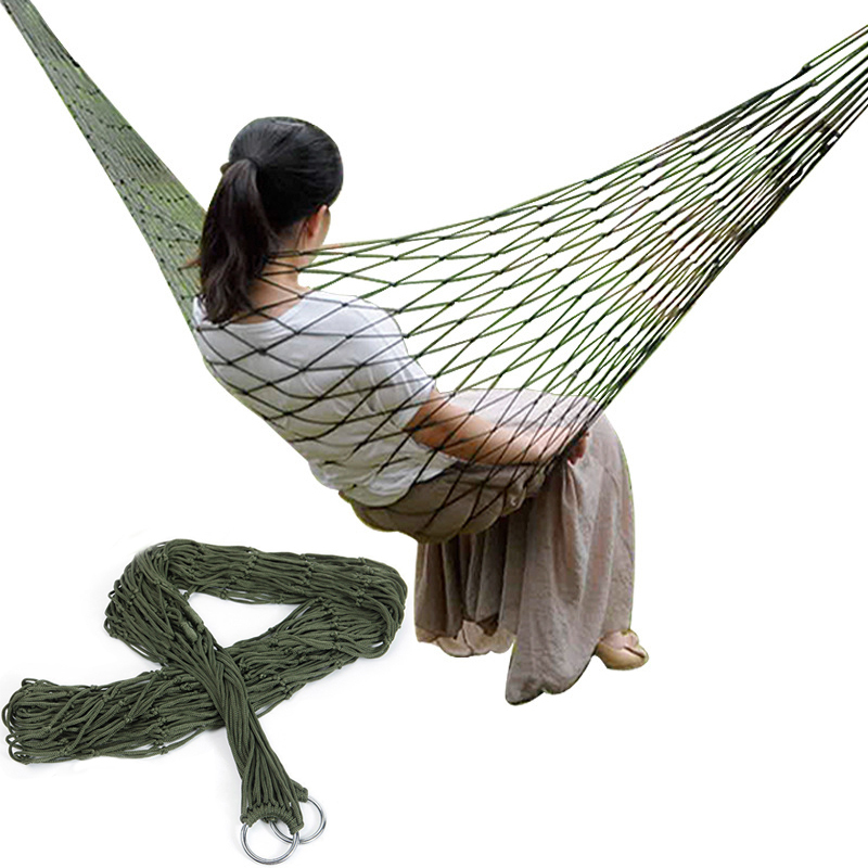 Single Person Mesh Nylon Hammock Portable For Camping Beach Outdoor Leisure Hanging Bed Swing Adult Furniture Ulatralight       -in Hammocks from Furniture on Aliexpress.com   Alibaba Group