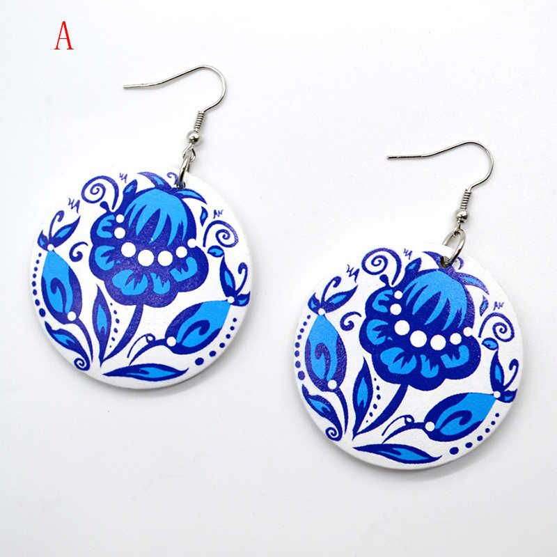 YULUCH 2018 New custom handmade fashion hot round wood color flower personality woman jewelry earrings gift
