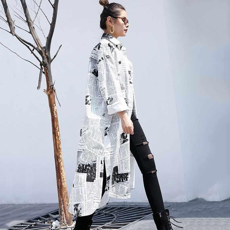 VGH, винтажная, с принтом, Длинная женская блузка, рубашка с длинным рукавом, с отворотом, свободные, большие размеры, женские блузки, Весенняя мода, Корейская Новинка 2019