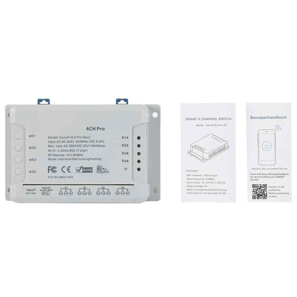 Sonoff 4CH Pro R2 433mhz 4 canales Banda RF remoto inalámbrico Wifi interruptor inteligente Interlock relé Alexa Google A casa