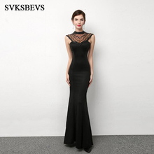 SVKSBEVS 2019 Luxury Crystal Halter Bodycon Mermaid Long Dresses Elegant Party Illusion Zipper Backless Maxi Dress
