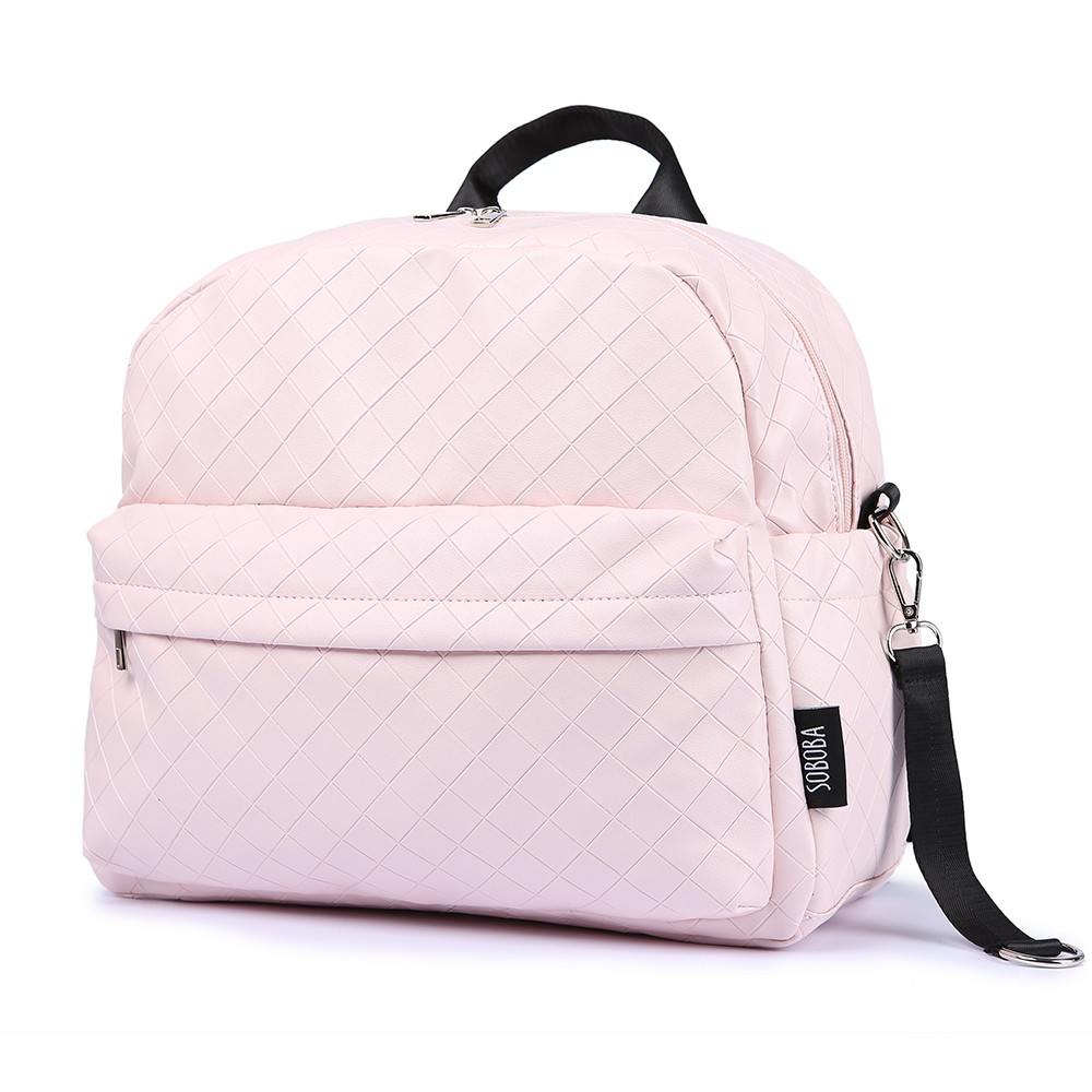 Soboba Fashionable Plaid Pink Diaper Bag For Mommies Large Capacity Well-organized Space Maternity Backpack For Strollers