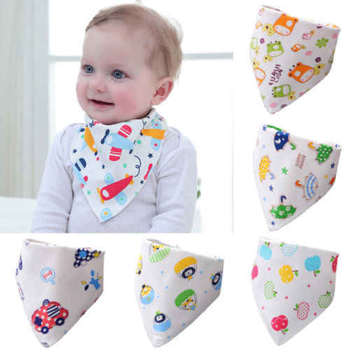 7 Patterns Available Baby Bandana Bibs Infant Kids Cartoon Cute Soft Cotton Baby Scarf Burp Feeding Saliva Triangle Slabbers