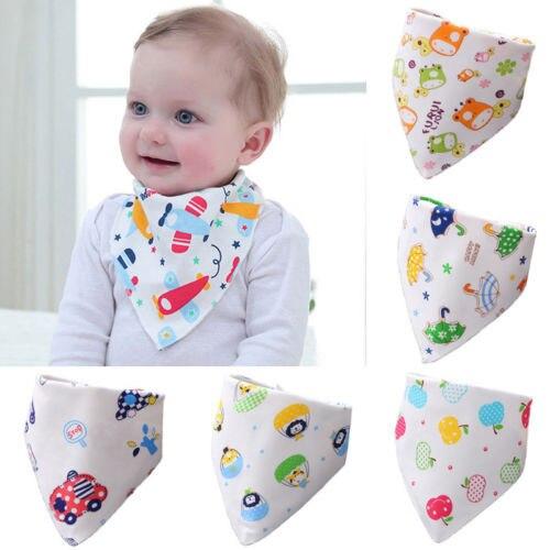 7 patrones disponibles bebé baberos Bandana bebés niños dibujos animados lindo suave algodón bebé bufanda Burp alimentación Saliva triángulo Slabbers