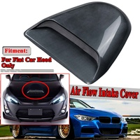 New Carbon Fiber Look New Flat Car Universal For JDM Style Air Flow Intake Cover Decorative Hood Scoop Vent Engine Bonnet